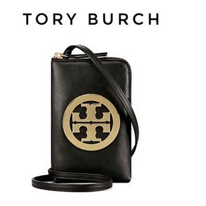 Tory Burch black leather cellphones crossbody bag